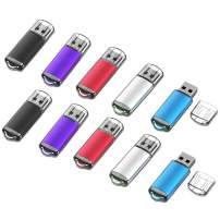 JOIOT 32GB Flash Drive 10 Pack USB 2.0 Memory Stick 32GB USB Drive Bulk 10Pack Swivel Thumb Drives Jump Drive Zip Drive(10 PCS Mix Color)