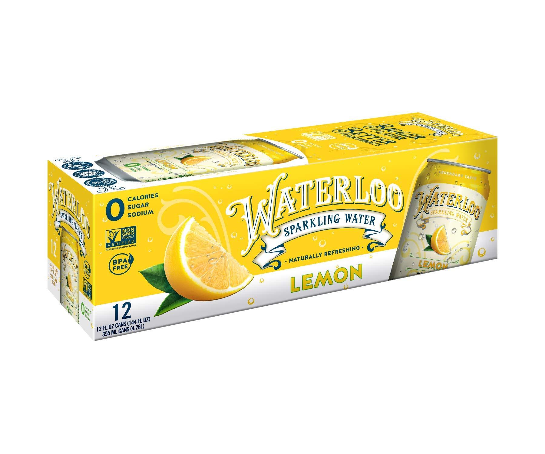 Waterloo Sparkling Water Lemon Flavor Zero Calorie No Sugar 12oz Cans (Pack of 12), Fruit Flavored Sparkling Water, Naturally Flavored, Zero Calories, Zero Sugar, Zero Sodium