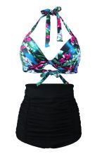 Women's Floral Halter High Waist Bikini Swimsuit Floral Printing Bathing Suits 2 Pieces