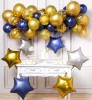 PartyWoo Navy Blue Gold Silver Balloons, 46 Pcs Navy Blue Balloons, Gold Confetti Balloons and Star Foil Balloons, Silver Balloons for Navy Blue and Gold Wedding, Navy Gold Baby Shower