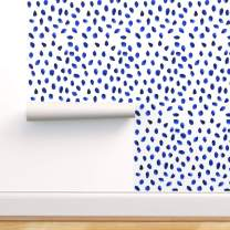 Spoonflower Peel and Stick Removable Wallpaper, Blue Polka Dot White Spots Dots Watercolor and Chinoiserie Print, Self-Adhesive Wallpaper 24in x 36in Roll
