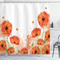 "Ambesonne Poppy Shower Curtain, Digital Watercolors Design of Poppy Classic Botany Bouquet Patterns Print, Cloth Fabric Bathroom Decor Set with Hooks, 84"" Long Extra, Orange White"
