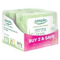 Simple Facial Wipes, Cleansing, 25 ct, Twin Pack