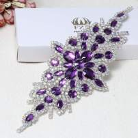 Rhinestone Applique for Wedding Dress Belt Embellishment (Purple)
