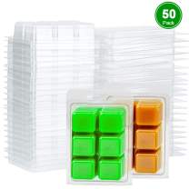 Perkisboby 50 Packs Wax Melt Clamshells Molds Square, 6 Cavity Clear Plastic Cube Tray for Candle-Making & Soap