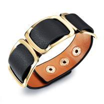 OPK Jewelry Retro Wild Design Women Rivet Bracelet Wide Wrap BangleWristband, Black/Orange/Leopard Print