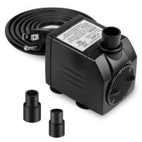 BARST 120GPH Submersible Water Pump, Ultra Quiet Aquarium Pump (450L/H, 6W,6ft) with 3 Srtong Suction Cups,3 Nozzles for Fountains, Pool, Fish Tank, Pond, Hydroponics