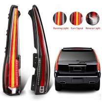 MOSTPLUS LED Tail Lights Rear Compatible for Cadillac Escalade 2007-2014 ESV Rear Lamp Assembly with Red Turn Light (Red Clear)