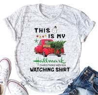 Christmas Movie T-Shirt Women This is My Hallmark Christmas Movie Watching Shirt Vintage Truck Tree Tops Tee Blouse