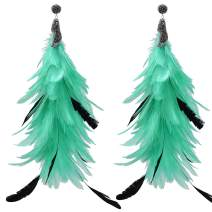 L'VOW Punk Style Natural Feather Long Dangle Earrings Crystal Ear Cuffs for Women