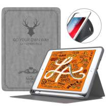 MoKo Case Fit New iPad Mini 5 2019 (5th Generation 7.9 inch) Tablet, Free-Angle Stand Lightweight Shock Proof Vintage Book Cover Protector with Auto Wake/Sleep - Gray