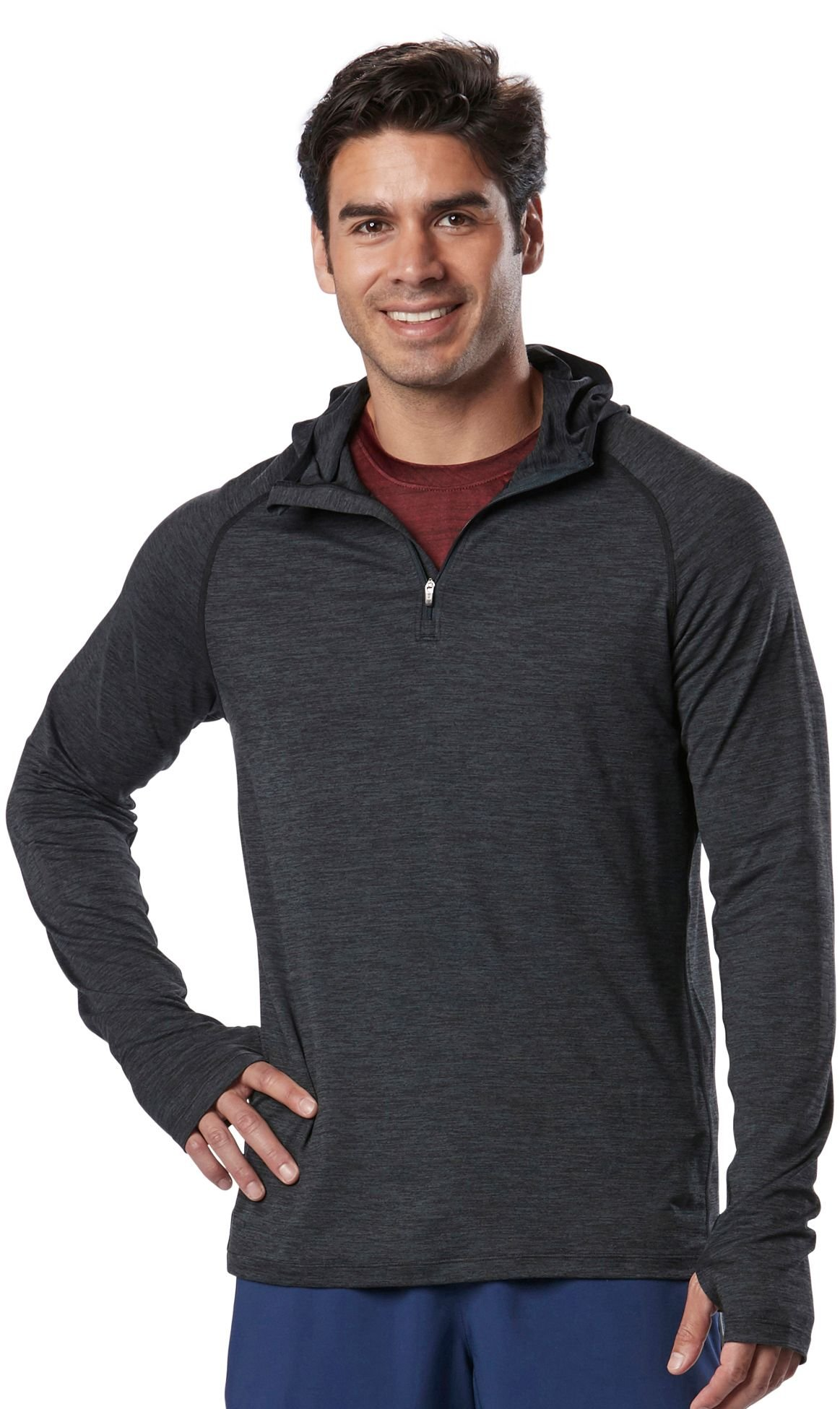 R-Gear Men's Quarter Zip Active Pullover Hoodie with Thumbholes   in-The-Zone