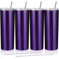 4 Pack Classic Tumbler Stainless Steel Double-Insulated Water Tumbler Cup with Lid and Straw Vacuum Travel Mug Gift with Cleaning Brush (Transparent Purple, 20 oz)