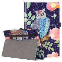 VORI Case for All-New Amazon Fire HD 10 Tablet (9th/7th/5th Generation,2019/2017/2015 Release), Folio Folding Smart Stand Cover with Hand Strap and Auto Wake/Sleep for Fire HD 10.1'', Owl