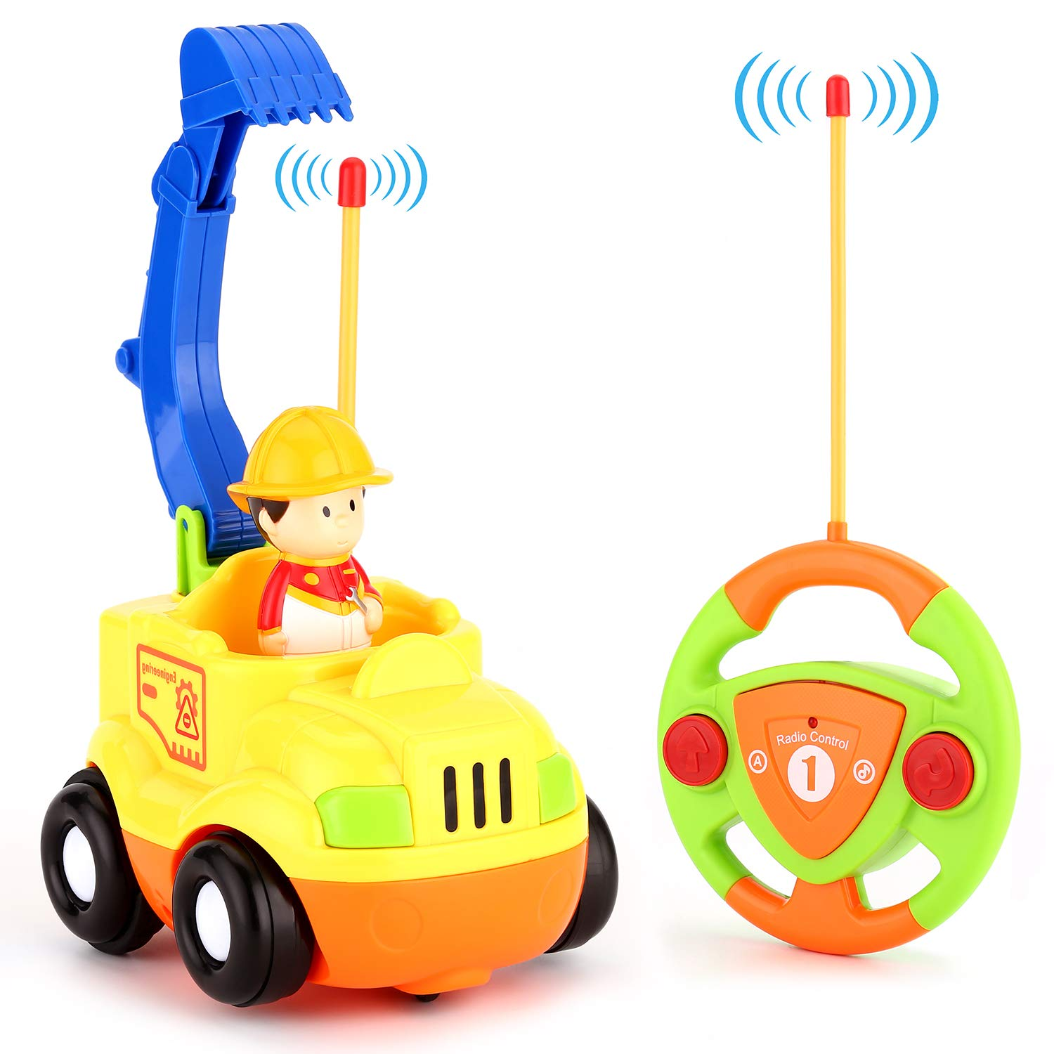 BruRkim Cartoon RC Race Car Radio Remote Control with Music & Sound Toy for Baby, Toddler, Kids and Children Cars, School Classroom Prize, 3 Year Old Birthday Gift (Toy-01)