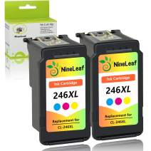 NineLeaf Remanufactured Ink Cartridges High Yield Compatible for Canon CL 246 XL CL-246XL 246 XL PIXMA MX492 MG2920 MG2520 IP2820 MG2420 MG2922 MG2924 Show Accurate Ink Level (Tri-Color, 2 Pack)