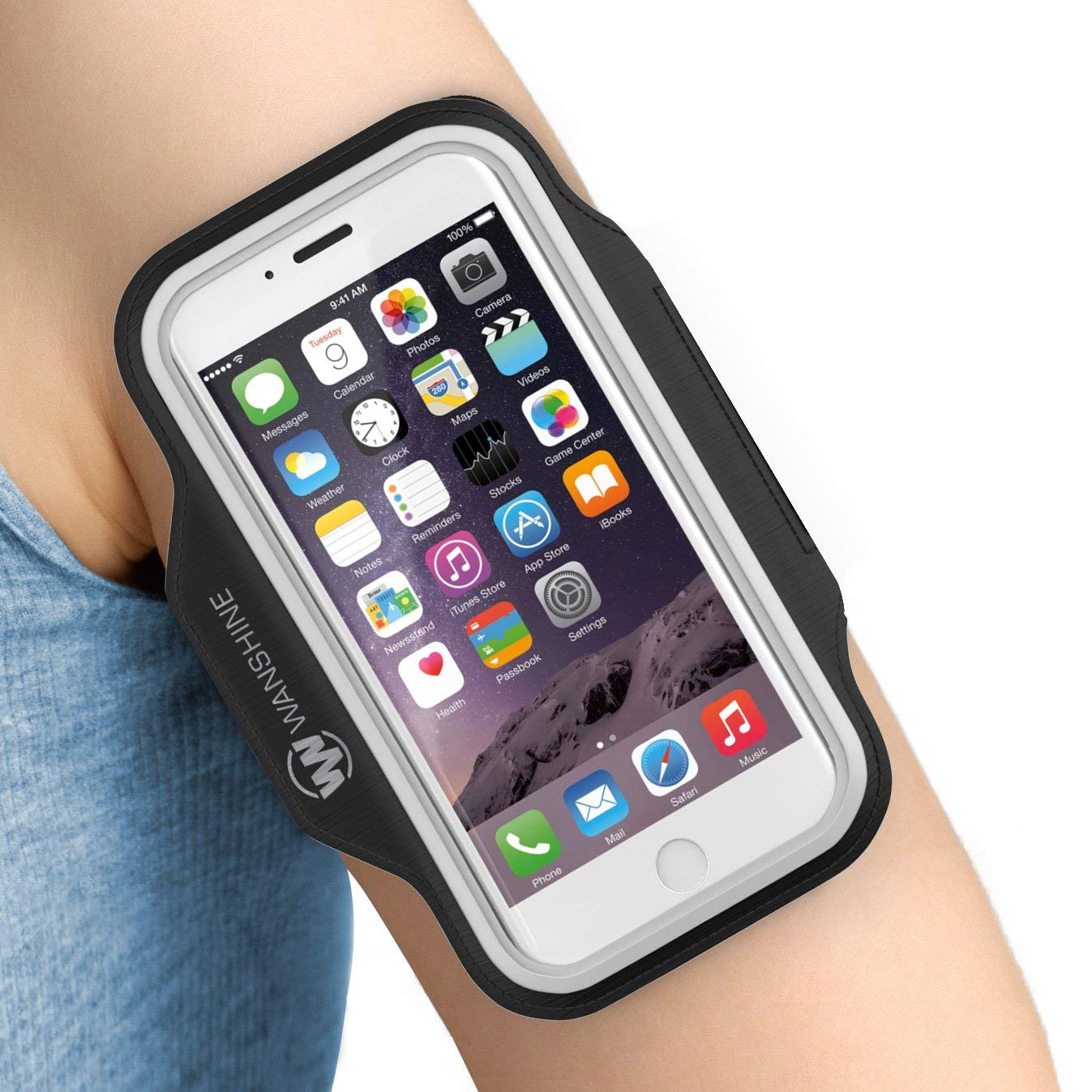 """Wanshine Armband with Aux Cable Gift for iPhone 8/7/ 6/ 6S/ SE/ 5, and Galaxy S8/ 7/6, Google Pixel, Water Resistant Sport Exercise Running Pouch Key Holder fit Phone Diagonal Size up to 5.85"""""""