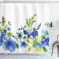 "Ambesonne Watercolor Flower Shower Curtain, Swirled Brushstroke Herbs Romantic Feminine Blooming Nature Artwork, Cloth Fabric Bathroom Decor Set with Hooks, 70"" Long, Yellow Blue"