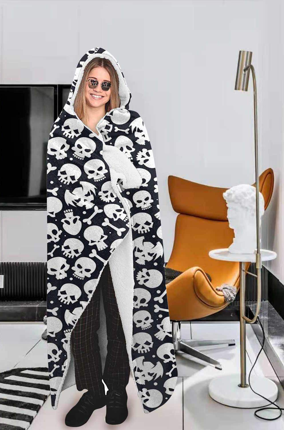 Sugar Skull Hooded Blanket, Comfort Warmth Soft Cozy, Black and White, Rose Skull Sherpa Fleece Blanket for Boys Men Size 50 by 60 Inches