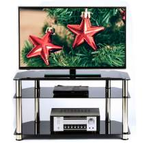 Rfiver Corner TV Stand for Most 26-46 Inch Plasma LCD LED OLED Flat/Curved Screen TVs, Black Tempered Glasses and Silver Stainless Tubes, Small Entertainment Center for Bedroom Living Room