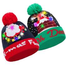 CAMTOP Christmas LED Beanie Hat Light Up Knit Ugly Sweater Winter Holiday Xmas Pom Hat
