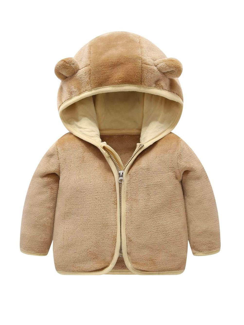 Voopptaw Little Kids Bear Ears Hooded Zipper Coral Fleece Jacket Outerwear