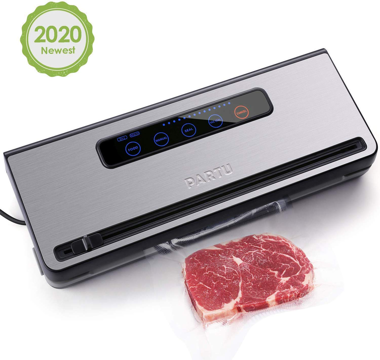 """PARTU 2-in-1 Vacuum Sealer Machine Automatic Food Sealing & Vacuum for Dry/Wet Food Savers w/ 11"""" x 118"""" Sealer Bag, 2 External Suction Pipe for Fresh-keeping Tank and Clothes Storage(Do Not Include Canisters)"""