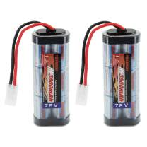 Tenergy 7.2V Battery Pack for RC Car, High Capacity 6-Cell 3800mAh NiMH Flat Battery Pack, Replacement Hobby Battery with Standard Tamiya Connector, 2-Pack