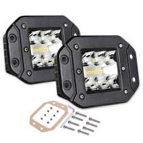 Flush Mount LED Pods, Swatow Industries 2PCS 80W Osram Triple Row Light Bar Spot Flood Combo Off Road Driving Light Waterproof LED Work Lights for Trucks Tractor SUV 4x4 ATV UTV