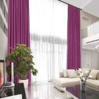 TWOPAGES Extra Long Loft Curtain Blackout Thermal Insulated Velvet Pinch Pleated Curtain Window Drape Blackout Lined Room Darkening Curtain (Purple, 36 x 144 Inches, 1 Panel)