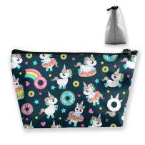 AHOOCUSTOM Travel Cosmetic Bag Donut Cute Unicorns Baby 3D Graphic Printed Multifunction Portable Toiletry Bag Makeup Pouch Case Organizer for Travel
