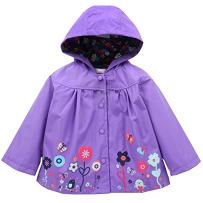 DINIRUKY Waterproof Rainwear Windbreaker Hooded Raincoat Cute Long Sleeve Outwear Jacket for Boys and Girls