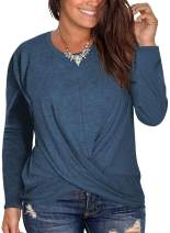 DOLNINE Womens Plus Size Long Sleeve Tee Tops Round Neck Cross Hem Blouse Shirts
