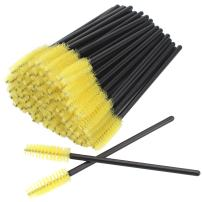 AKStore 100 PCS Disposable Eyelash Brushes Mascara Wands Eye Lash Eyebrow Applicator Cosmetic Makeup Brush Tool Kits (Black-Yellow)