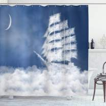 "Ambesonne Nautical Shower Curtain, Yacht in The Ocean Madend Shaped with Fluffy Cloudstmospheric Imaginary Sky, Cloth Fabric Bathroom Decor Set with Hooks, 84"" Long Extra, Blue White"
