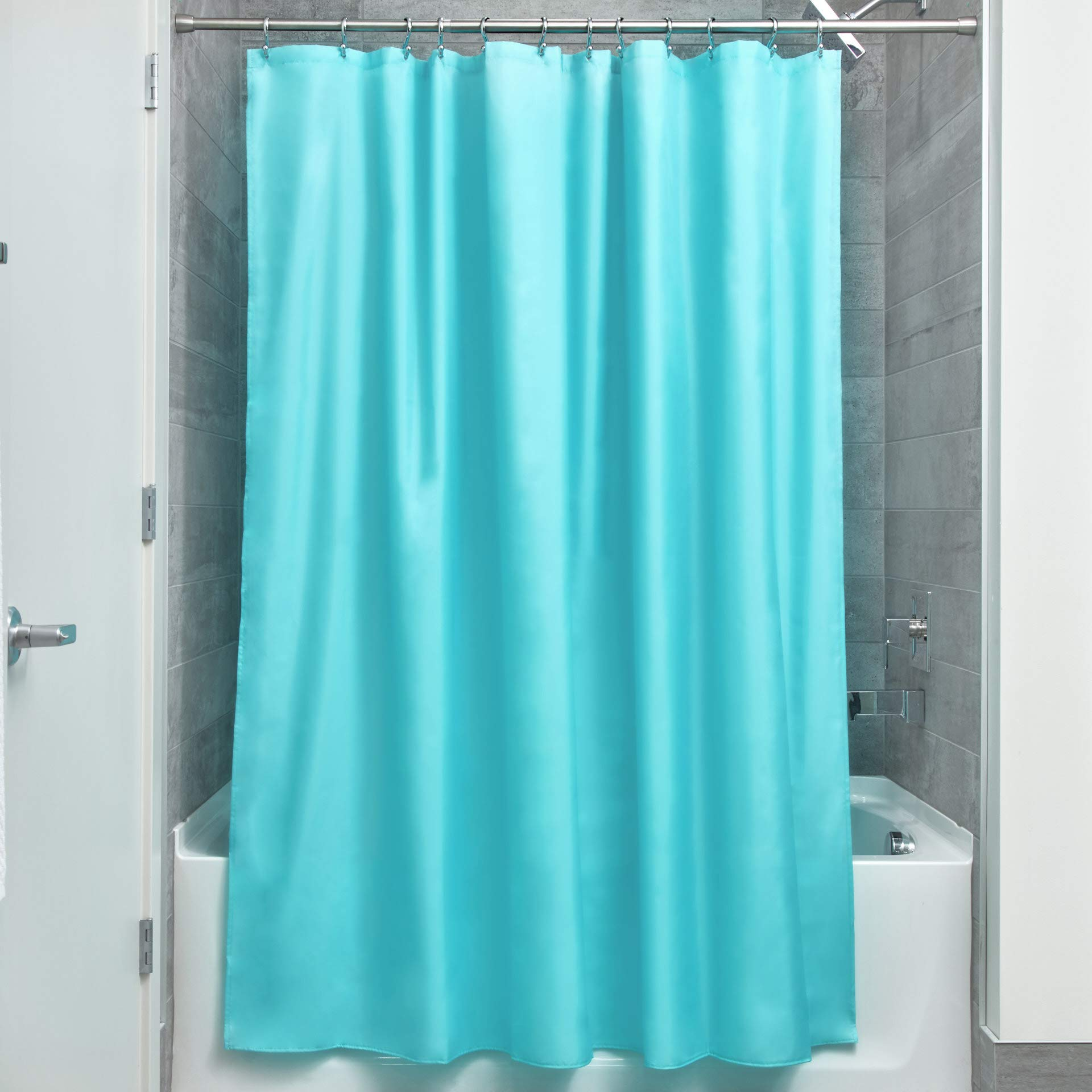 """iDesign Fabric Shower Curtain, Water-Repellent and Mold- and Mildew-Resistant Liner for Master, Guest, Kid's, College Dorm Bathroom, 72"""" x 72"""" - Aqua Blue"""