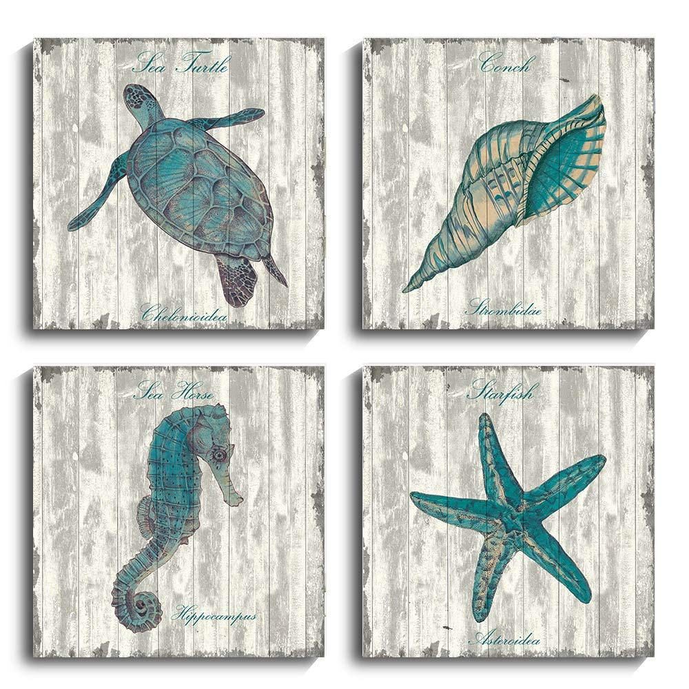 YPY Sea Turtle Bathroom Wall Decor Canvas Prints Seahorse Teal Watercolor Painting Beach Theme Artwork 4 Panels Framed for Bedroom Living Room Home Office Decorations (12x12in, Black White)