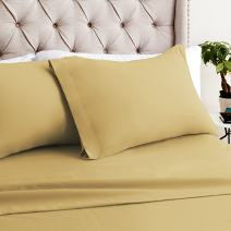 Luxor Linens Bamboo Queen Sheets - 4pc Set (2 Pillowcases, 1 Fitted Sheet, 1 Flat Sheet) - 18 inch Deep Pockets – Premium Hotel Quality, Soft, Luxurious & Hypoallergenic (Queen, Gold)
