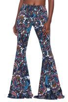Herose Tall Ladies S-2XL Soft Pattern Bell Bottoms Floor Length Ethnic Boho Flared Pants