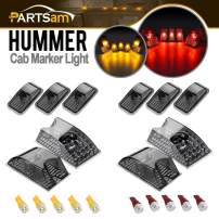 Partsam 10x Whole Assembly Set Smoke Cab Marker Top Roof Running Light 264160BK w/(5xRed+5xAmber) T10 194 168 LED Bulbs Compatible with Hummer H2 SUV SUT 2003 2004 2005 2006 2007 2008 2009