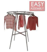 "Econoco Display Rack Round – Round Folding Rack, 42"" Diameter Folding Round Clothes Rack, Folding Round Garment Rack, Folding Display Rack, Chrome"