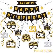 LINGTEER 23 Birthday Decorations Set - Happy 23rd Birthday Party Swirls Streamers Crown Glasses Gift Box Sign | Happy Birthday Garland Banner Cheers to 23 Years Old Birthday Party Supplies
