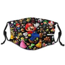 Super-Mario-All-Stars Unique Design Reusable Masks With Filters For Boys And Girls Adjustable Ear Loop Washableface Masks Protection Against For Dust Exhaust Cold Smog