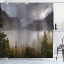 "Ambesonne Yosemite Shower Curtain, Yosemite Valley Autumn View with Dark Clouds Heavy Haze Rainy Day Landscape Print, Cloth Fabric Bathroom Decor Set with Hooks, 75"" Long, Green Grey"
