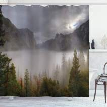 """Ambesonne Yosemite Shower Curtain, Yosemite Valley Autumn View with Dark Clouds Heavy Haze Rainy Day Landscape Print, Cloth Fabric Bathroom Decor Set with Hooks, 70"""" Long, Green Grey"""