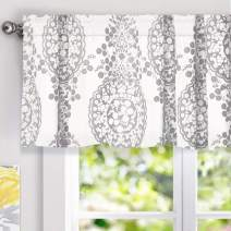 DriftAway Samantha Floral Damask Medallion Pattern Valance Single Rod Pocket 52 Inch by 18 Inch Plus 2 Inch Header Gray