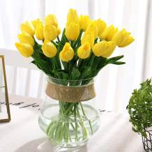 """30PCS Real Touch Tulips PU Artificial Flowers, Fake Tulips Flowers for Arrangement Wedding Party Easter Spring Home Dining Room Office Decoration. (Yellow, 14"""" Tall)"""