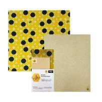NIL beeswax wraps - 2 pack large sizes organic food wraps eco friendly reusable food wraps (Yellow Dot)