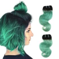 """FASHION LINE 8"""" Human Hair Bundles Ombre Two Tone Brazilian Virgin Hair Extensions Body Wave (4 bundles, 1b/green)"""