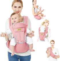 Viedouce Baby Carrier Ergonomic with Hip Seat/Pure Cotton Lightweight and Breathable, Pink